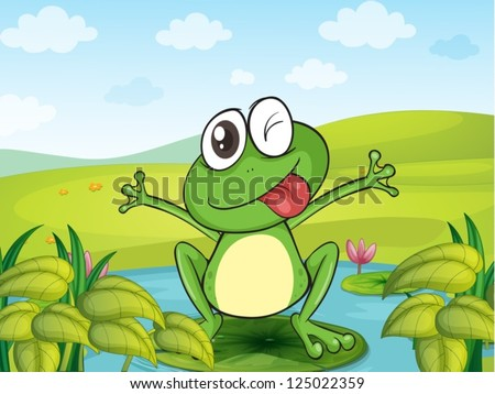Illustration of a smiling frog in a beautiful nature