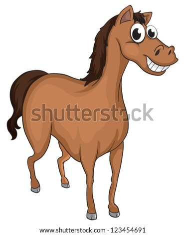 Illustration of a smiling horse on a white background