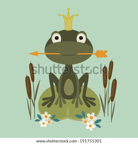 Illustration of a smiling princess frog sitting in the lake and holding an arrow - stock vector