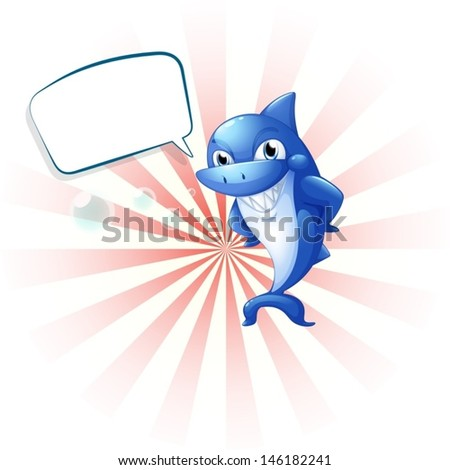 Illustration of a smiling shark with an empty callout on a white background  - stock vector