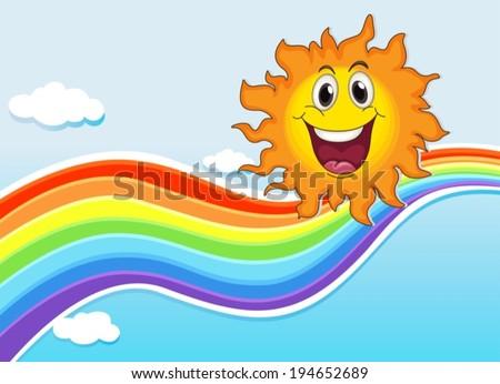 Illustration of a smiling sun near the rainbow - stock vector