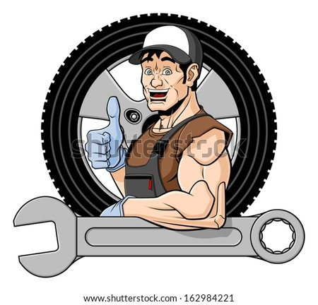 Illustration of a smiling tire specialist. He is leaning on a big wrench and giving a thumbs up. Behind him there is a wheel. Isolated on white background. - stock vector