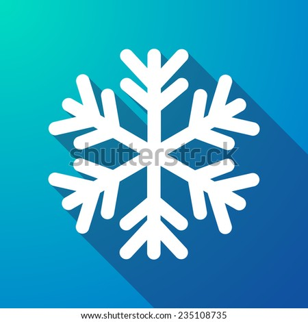Illustration of a  snow flake  long shadow icon - stock vector