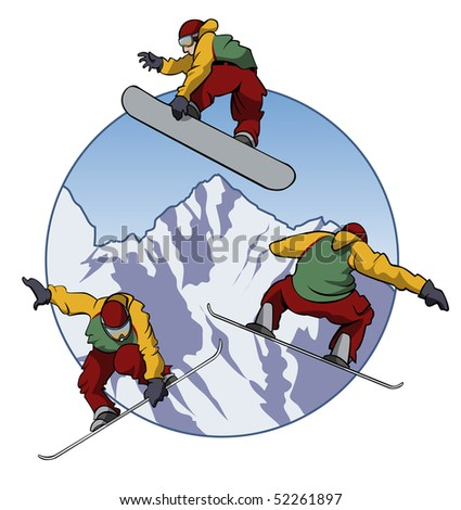 Illustration of a snowboarder doing tricks - Three different positions - Cartoon style - stock vector