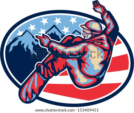Illustration of a snowboarding spin jumping on snowboard set inside oval with alpine alps mountains and American stars and stripes flag in background done in retro style.