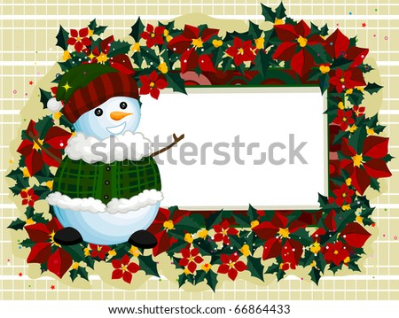 Illustration of a Snowman Standing Beside a Blank Board - stock vector