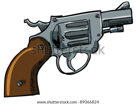 Illustration of a snub nose revolver. Isolated on white - stock vector