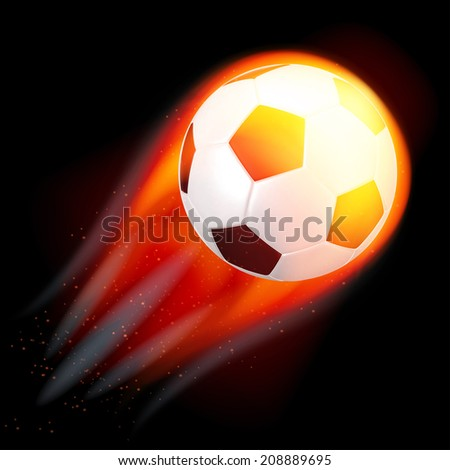 Illustration of a soccer ball in flames on a black isolated background - stock vector
