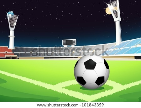 Illustration of a soccer ball in stadium - stock vector