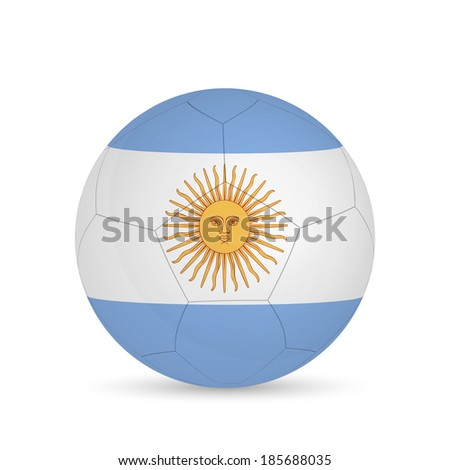 Illustration of a soccer ball with Argentina flag isolated on a white background. - stock vector