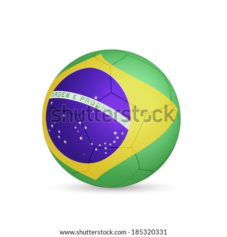 Illustration of a soccer ball with Brasil flag isolated on a white background.