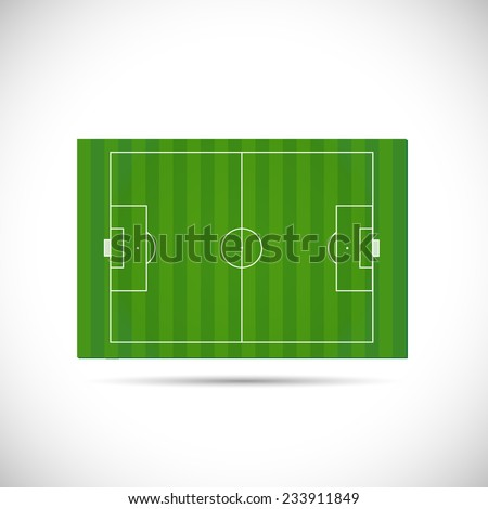 Illustration of a soccer field hovering isolated on a white background. - stock vector