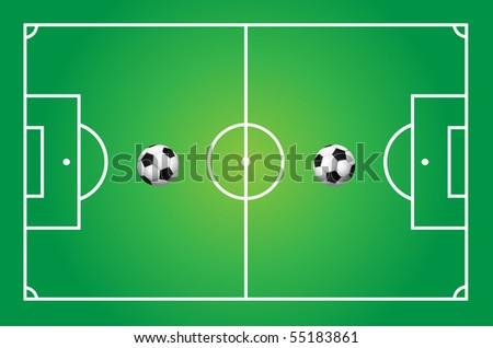 Illustration of a soccer field with ball - stock vector