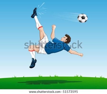 illustration of a soccer player in action, doing bicycle kick
