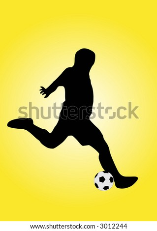 illustration of a soccer player shooting the ball - stock vector