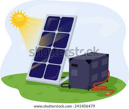 Illustration of a Solar Panel Getting Solar Energy From the Sun - stock vector
