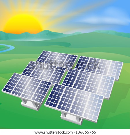 Illustration of a solar panel photovoltaic cells generating power and electricity - stock vector