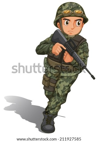 Illustration of a soldier with a gun on a white background - stock vector