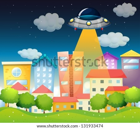 Illustration of a spaceship above the buildings