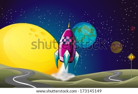 Illustration of a spaceship in the outerspace near the moon - stock vector