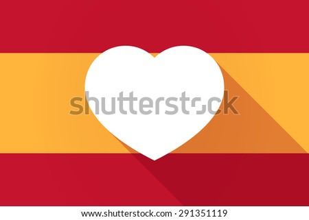 Illustration of a Spain  long shadow flag with a heart - stock vector