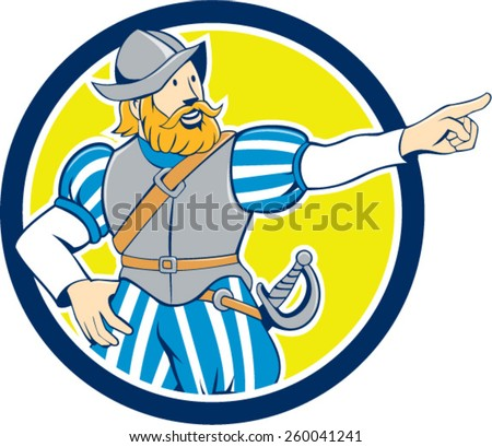 Illustration of a spanish conquistador pointing looking to side set inside circle on isolated background done in cartoon style.