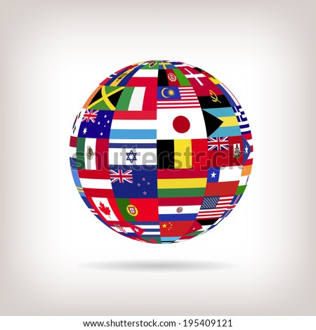 Illustration of a sphere with flags from countries across the world. - stock vector