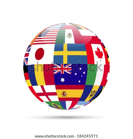 Illustration of a sphere with flags isolated on a white background. - stock vector