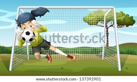 Illustration of a sporty young girl playing football - stock vector
