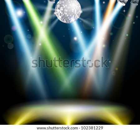 Illustration of a spotlit disco dance floor with mirror ball or disco ball - stock vector
