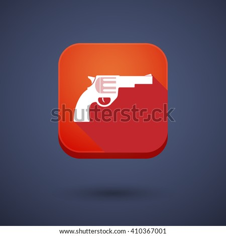 Illustration of a square long shadow app button with a gun - stock vector
