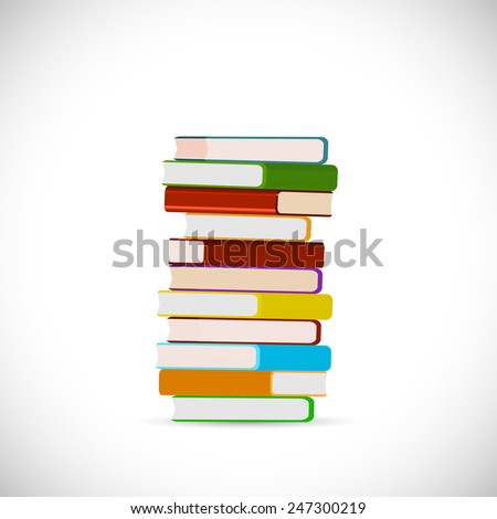 Illustration of a stack of books isolated on a white background. - stock vector
