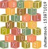 Illustration of a Stack of Wooden Blocks Etched with Letters of the Alphabet - stock vector