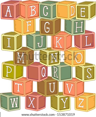 Illustration of a Stack of Wooden Blocks Etched with Letters of the Alphabet