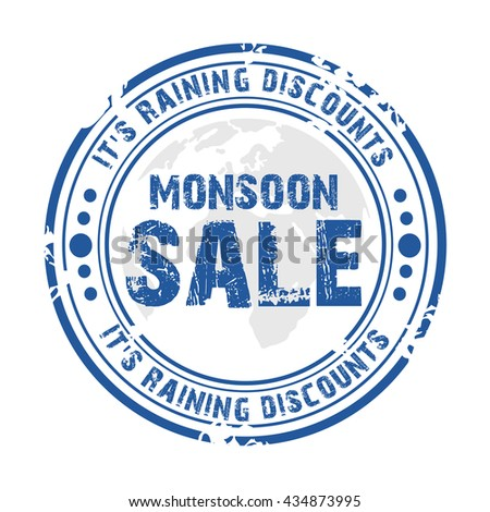 illustration of a stamp of Monsoon season offer.