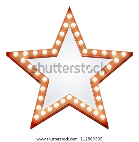 Illustration of a star shaped illuminated sign with light bulbs round it - stock vector