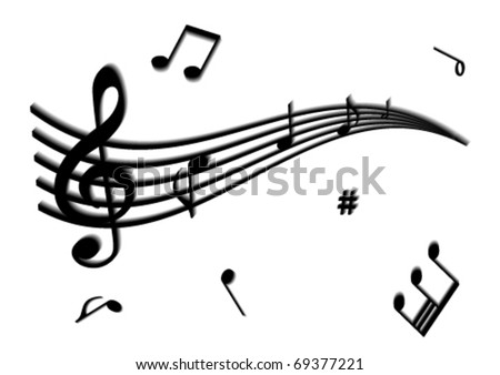 Illustration of a stave and some music notes - stock vector
