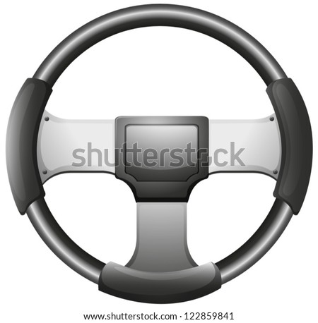 Illustration of a steering wheel on a white background - stock vector