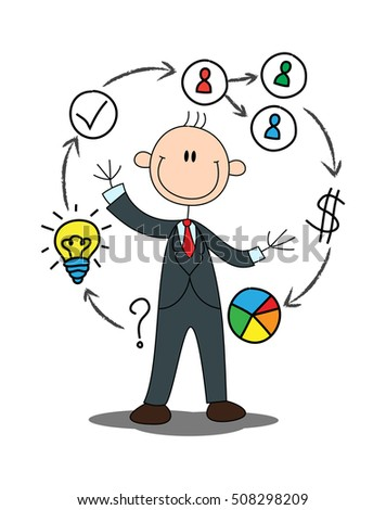 illustration of a stick businessman explain about profit of business presentation on isolated white background