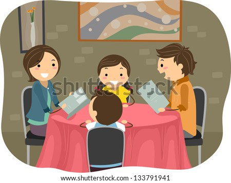 Illustration of a Stickman Family having a Dinner in a Restaurant - stock vector