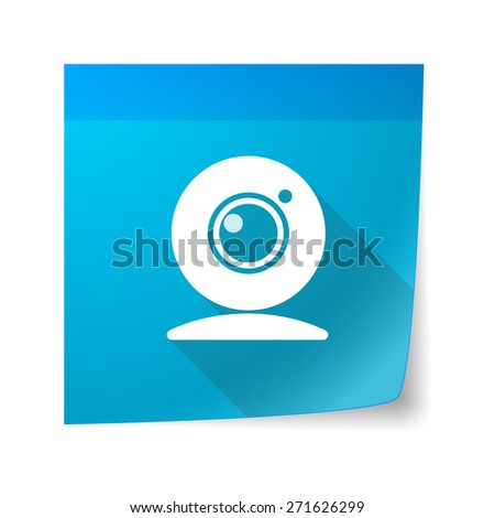 Illustration of a sticky note icon with a web cam - stock vector