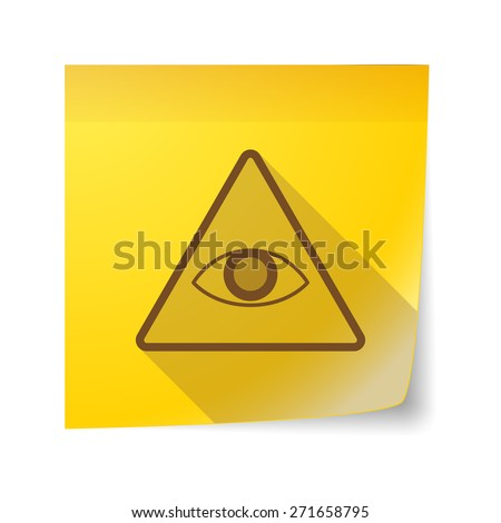 Illustration of a sticky note icon with an all seeing eye