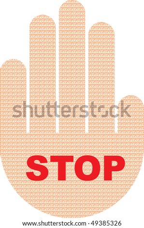 Illustration of a stop sign with the texture of the text of a stop - stock vector