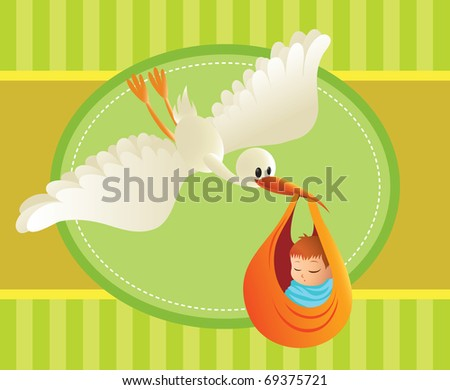 Illustration of a stork delivering a baby on colorful background. Great spacing for text. Perfect for cards and banners. - stock vector