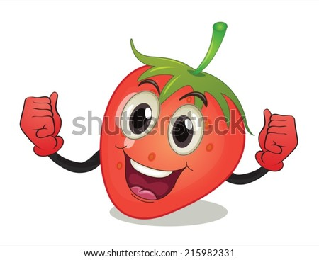 Illustration of a strawberry with face - stock vector