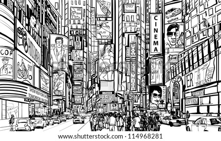 Illustration of a street in New York city - stock vector
