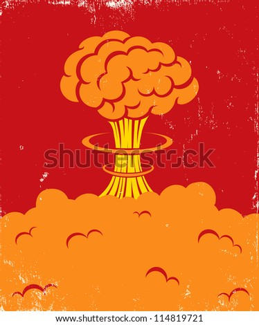 Illustration of a strong blast of brain - stock vector