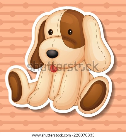 Illustration of a stuffed animal dog - stock vector