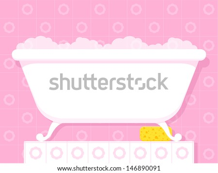 Illustration of a stylish white vintage style bathtub on raised feet filled with soapy bubbles standing on a tiled plinth in a pretty pink bathroom - stock vector
