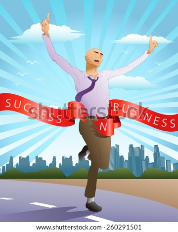 illustration of a successful running businessman reach goal in city background - stock vector